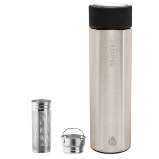 GROSCHE Chicago Double Walled Infuser Tea Tumbler - Brushed Stainless Steel buy at Florist