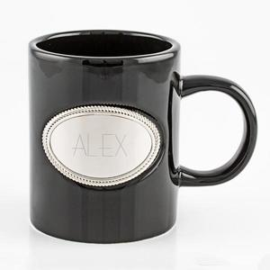 Black ceramic mug with emblem buy at Florist