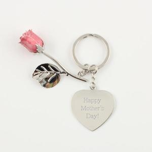 Pink Rose Keychain with Heart buy at Florist
