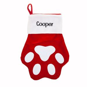 Red and white velvet pet paw stocking buy at Florist