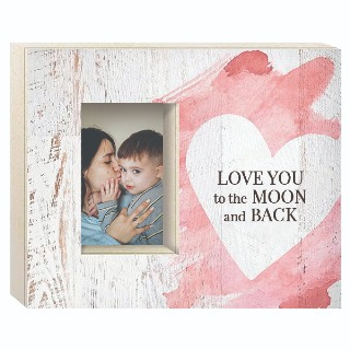 Love You to the Moon and Back Heart Wooden Frame Holds 4x6 photo buy at Florist
