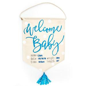 Welcome baby flag blue buy at Florist